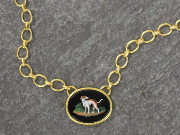 "Elizabeth Locke Horizontal Oval Horizontal 19th Century Micromosaic ""Dog"" on ""Positano"" Gold Link Necklace model shot #2"