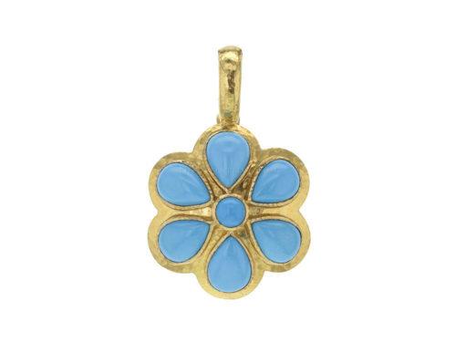 Elizabeth Locke Round Turquoise Daisy Pendant