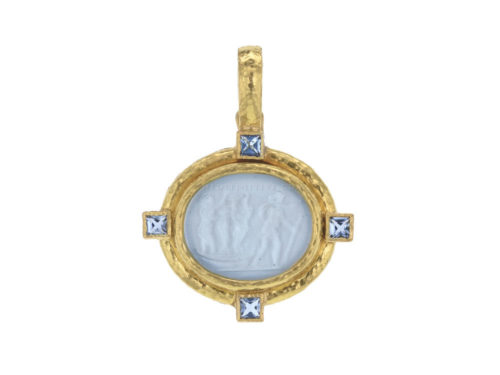 "Elizabeth Locke Light Aqua Venetian Glass Intaglio ""Goddess On Boat"" Pendant With Aquamarine"