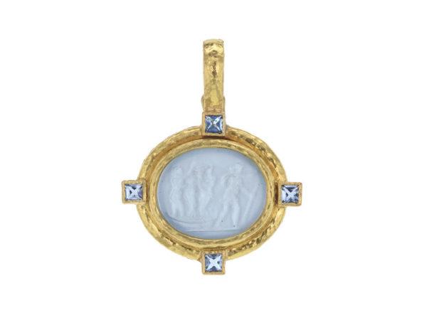 "Elizabeth Locke Light Aqua Venetian Glass Intaglio ""Goddess On Boat"" Pendant With Aquamarine thumbnail"