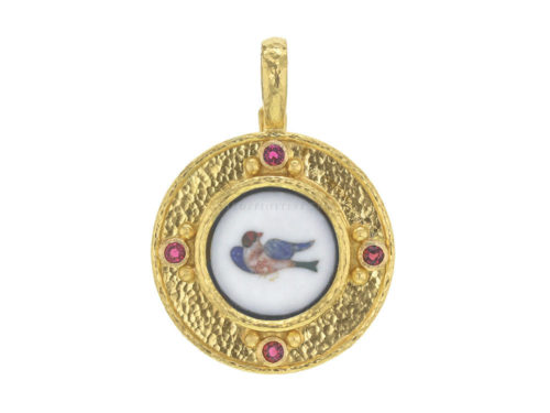 Elizabeth Locke Round Pietra Dura Bird Pendant With Red Spinel