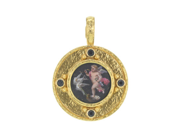 "Elizabeth Locke Antique Round Porcelain Painting ""Cherubs with Black Background"" Pendant with Black Spinels thumbnail"