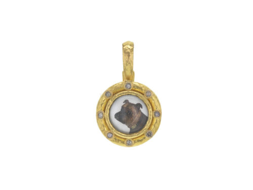 "Elizabeth Locke Antique Essex Crystal ""Bulldog"" Pendant with Cognac Diamonds"