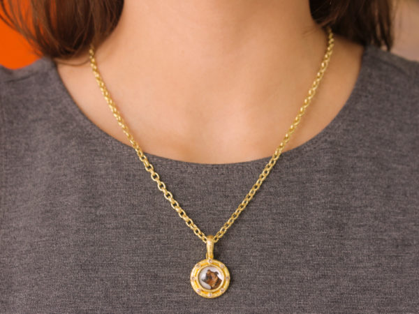 "Elizabeth Locke Antique Essex Crystal ""Bulldog"" Pendant with Cognac Diamonds"