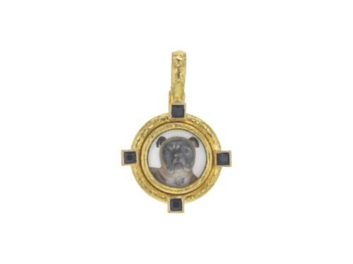"Elizabeth Locke Antique Essex Crystal ""Bulldog"" Pendant with Black Spinels"