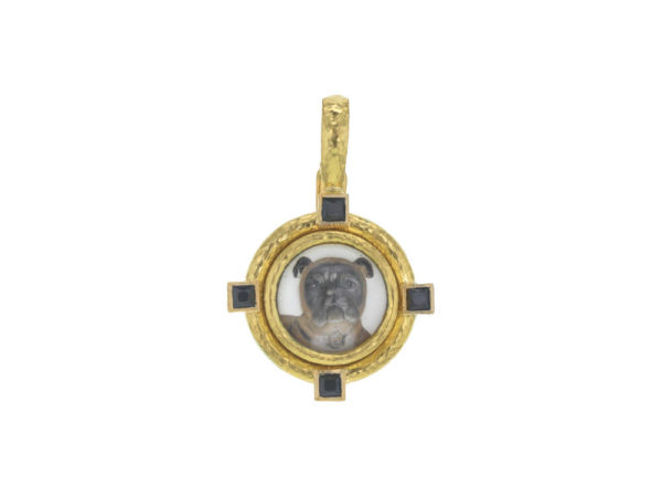 "Elizabeth Locke Antique Essex Crystal ""Bulldog"" Pendant with Black Spinels thumbnail"