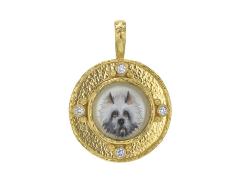"Elizabeth Locke Antique Essex Crystal ""White Dog"" Pendant with Diamonds"