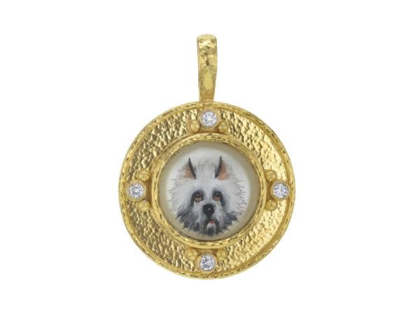 "Elizabeth Locke Antique Essex Crystal ""White Dog"" Pendant with Diamonds thumbnail"
