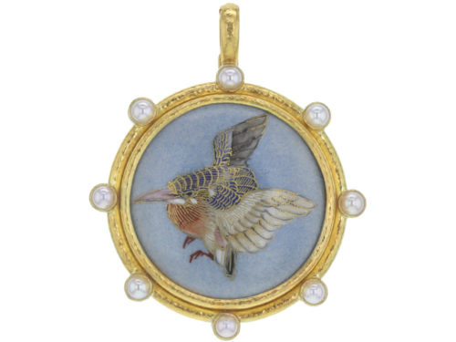 "Elizabeth Locke Antique Satsuma Porcelain Button ""Painted Wren"" Pendant with Pearls"