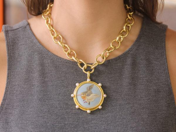 "Elizabeth Locke Antique Satsuma Porcelain Button ""Painted Wren"" Pendant with Pearls"