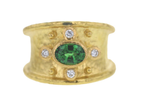 Elizabeth Locke Horizontal Oval Faceted Tsavorite Cigar Band With Four Diamonds