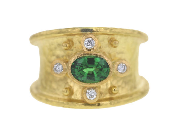 Elizabeth Locke Horizontal Oval Faceted Tsavorite Cigar Band With Four Diamonds thumbnail