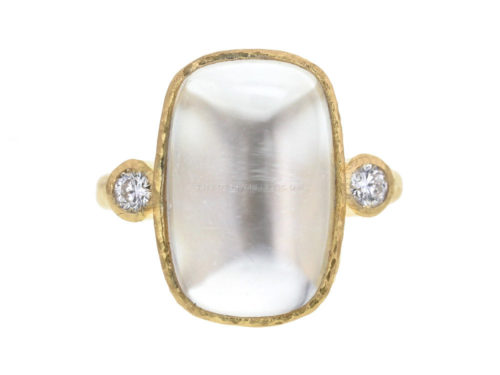Elizabeth Locke Vertical Oval Faceted Burmese Moonstone Ring With Diamonds