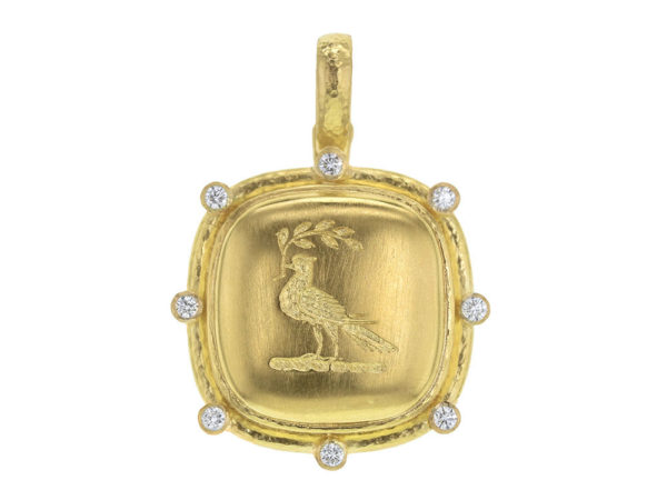 "Elizabeth Locke Gold ""Dove With Branch"" With Diamond Halo & Thin Hinged Bale thumbnail"