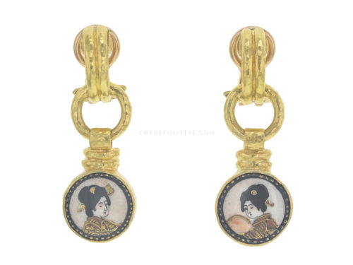 "Elizabeth Locke Antique 19th Century Satsuma ""Geisha Heads"" Porcelain Drop Earrings"