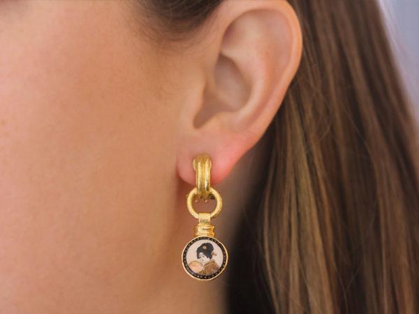 "Elizabeth Locke Antique 19th Century Satsuma ""Geisha Heads"" Porcelain Drop Earrings"