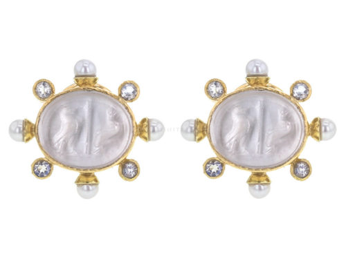 "Elizabeth Locke Crystal Venetian Glass Intaglio ""Eagle and Dolphin"" Earrings With Pearls and Faceted Moonstone"