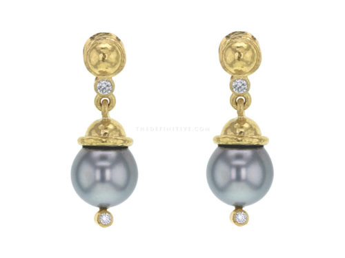 Elizabeth Locke Silver Pearl Drop Earrings with Diamonds