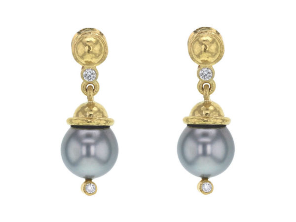 Elizabeth Locke Silver Pearl Drop Earrings with Diamonds thumbnail