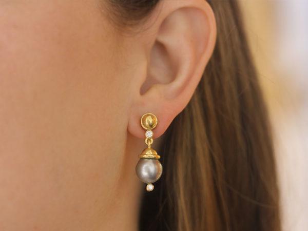 Elizabeth Locke Silver Pearl Drop Earrings with Diamonds