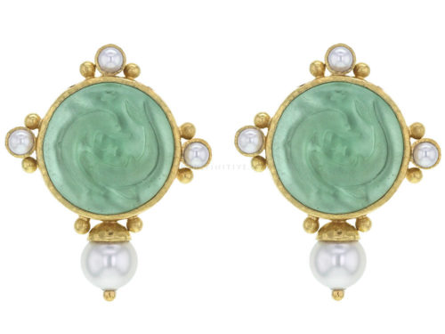 "Elizabeth Locke Nile Venetian Glass Intaglio ""Dolphin Twins"" Earrings With Top and Side Pearls and Bottom Akoya Pearl"
