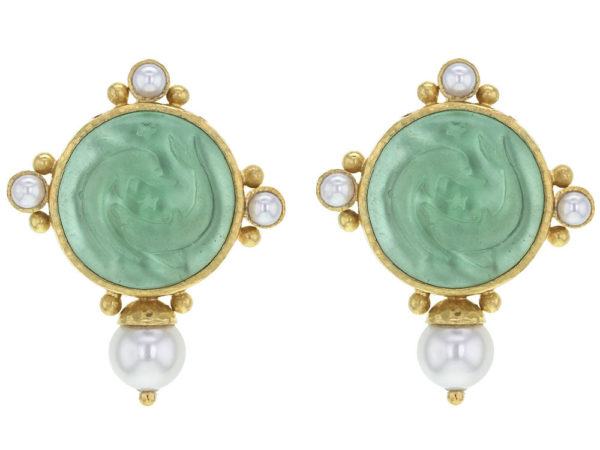 """Elizabeth Locke Nile Venetian Glass Intaglio """"Dolphin Twins"""" Earrings With Top and Side Pearls and Bottom Akoya Pearl thumbnail"""