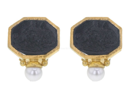 "Elizabeth Locke Black Venetian Glass Intaglio ""Cherub with Lion"" Earrings With Bottom Pearl"
