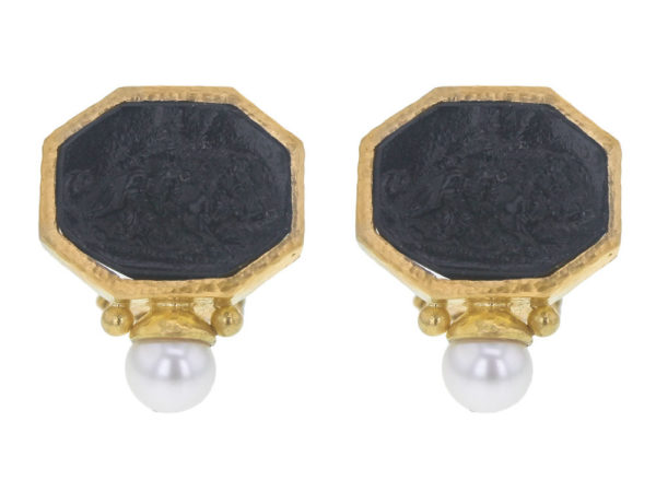 "Elizabeth Locke Black Venetian Glass Intaglio ""Cherub with Lion"" Earrings With Bottom Pearl thumbnail"