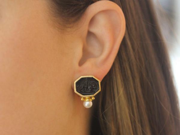 "Elizabeth Locke Black Venetian Glass Intaglio ""Cherub with Lion"" Earrings With Bottom Pearl"