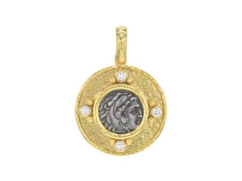 "Elizabeth Locke Ancient Greek Silver ""Alexander III"" Coin Pendant with Diamonds"