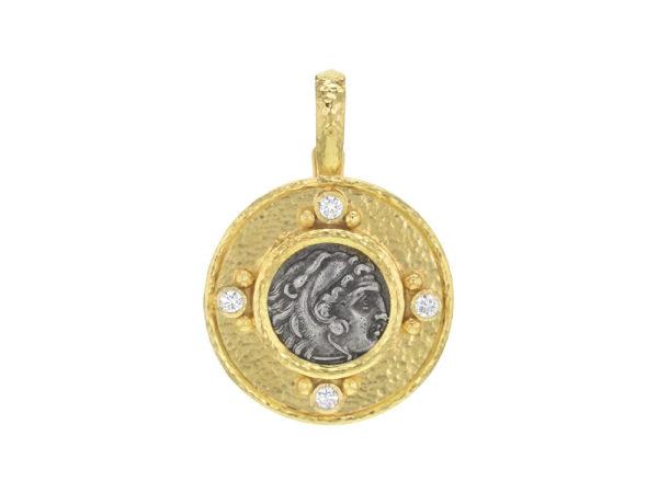 "Elizabeth Locke Ancient Greek Silver ""Alexander III"" Coin Pendant with Diamonds thumbnail"