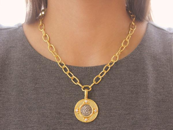 "Elizabeth Locke Ancient Greek Silver ""Alexander III"" Coin Pendant with Diamonds"