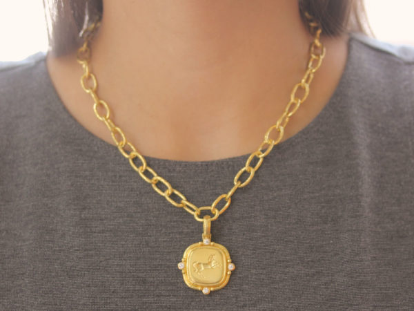 "Elizabeth Locke Horizontal Oval Gold ""Flat Rearing Horse"" Pendant with Diamonds"