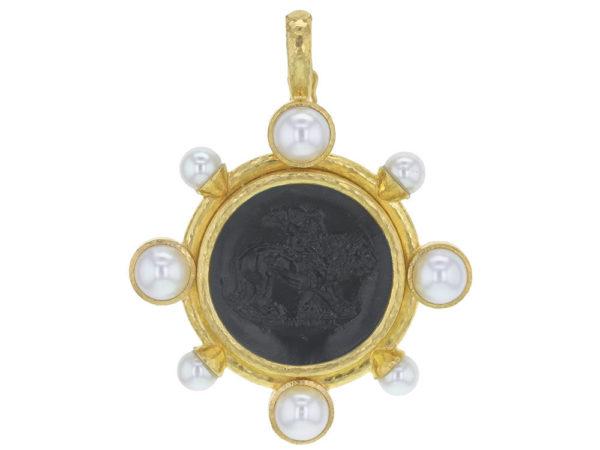 "Elizabeth Locke Venetian Glass Intaglio ""Cupid Riding Lion"" Pendant With Pearls thumbnail"