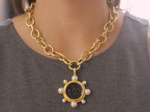 "Elizabeth Locke Venetian Glass Intaglio ""Cupid Riding Lion"" Pendant With Pearls"
