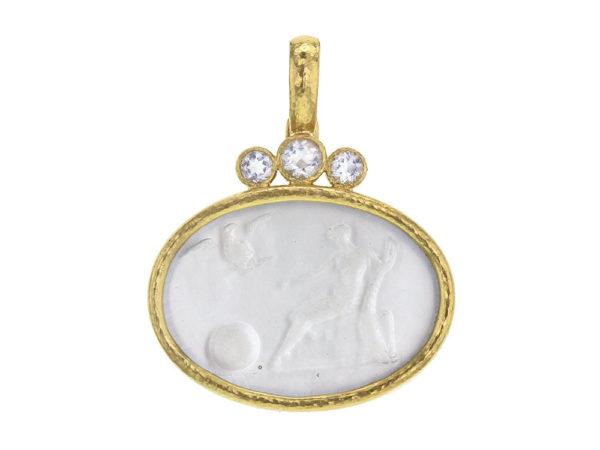 "Elizabeth Locke Venetian Glass Intaglio Crystal ""Mystical Ball"" Pendant With Trio of Moonstone thumbnail"