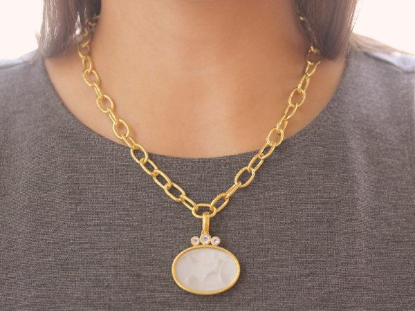 "Elizabeth Locke Venetian Glass Intaglio Crystal ""Mystical Ball"" Pendant With Trio of Moonstone"
