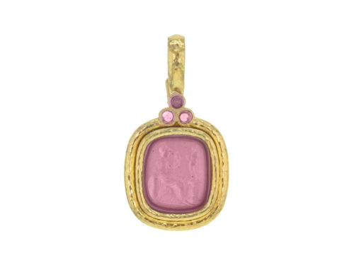 "Elizabeth Locke Pink Venetian Glass Intaglio ""Seated Minerva"" Pendant With Pink Sapphires"