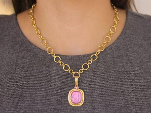 "Elizabeth Locke Pink Venetian Glass Intaglio ""Seated Minerva"" Pendant With Pink Sapphires"