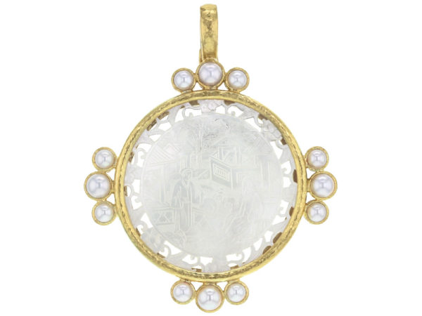 Elizabeth Locke 18th Century Fretted Chinese Gambling Counter Pendant with Pearls thumbnail