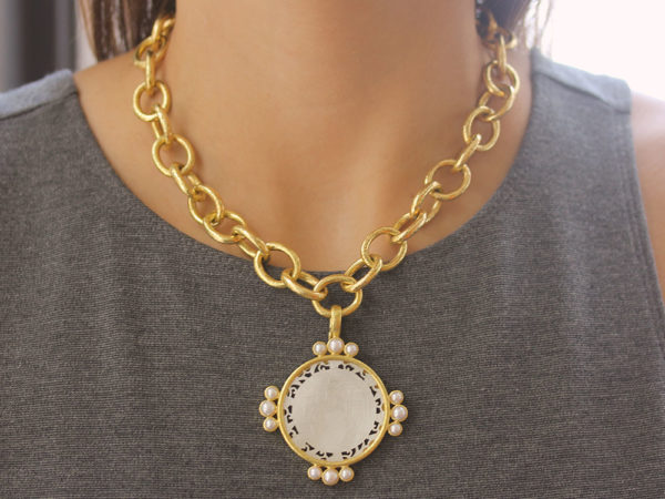 Elizabeth Locke 18th Century Fretted Chinese Gambling Counter Pendant with Pearls