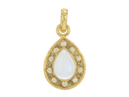 Elizabeth Locke Pear-shaped Burmese Moonstone and Diamond Pendant