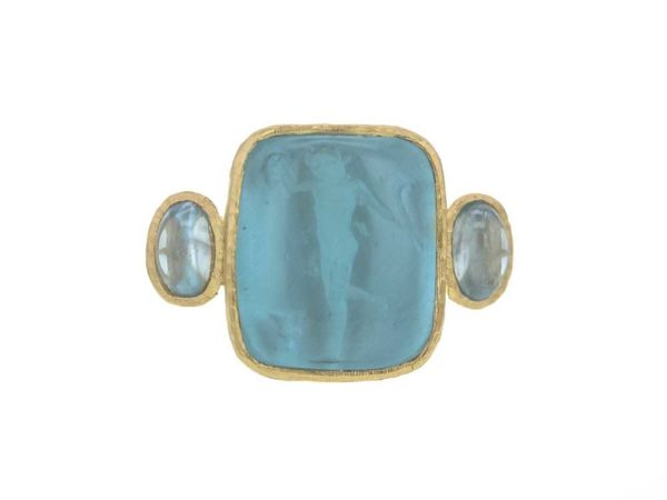 "Elizabeth Locke Teal Venetian Glass Intaglio ""Greek Muse"" Cabochon Zircon Ring thumbnail"