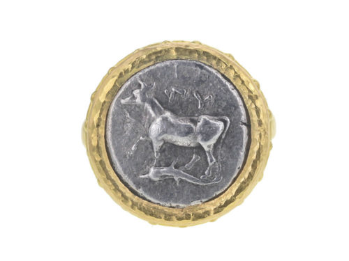 "Elizabeth Locke Ancient Greek Byzantine ""Heifer with Dolphin"" Silver Coin Ring With Granulated Collar and Thin Shank"
