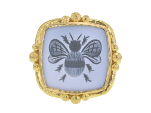 "Elizabeth Locke Cushion Banded Agate ""Bee"" Ring"