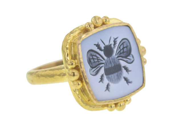 "Elizabeth Locke Cushion Banded Agate ""Bee"" Ring model shot #3"