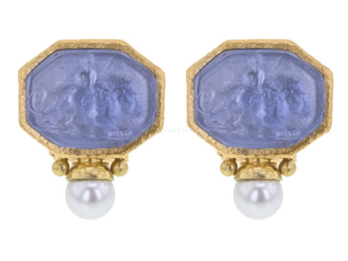 "Elizabeth Locke Cerulean Venetian Glass Intaglio ""Cherub with Lion"" Earrings With Bottom Pearl"