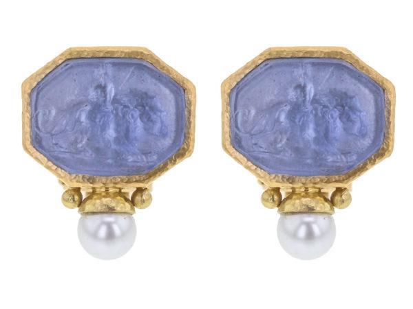 "Elizabeth Locke Cerulean Venetian Glass Intaglio ""Cherub with Lion"" Earrings With Bottom Pearl thumbnail"