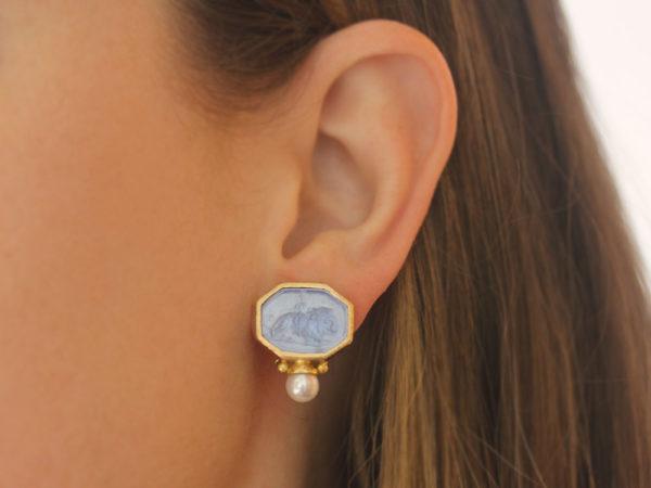 "Elizabeth Locke Cerulean Venetian Glass Intaglio ""Cherub with Lion"" Earrings With Bottom Pearl"