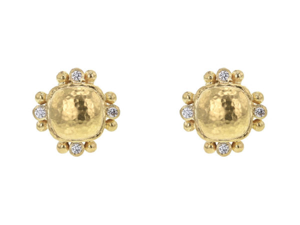 Elizabeth Locke Gold Dome Cushion Stud Earrings with Diamonds thumbnail